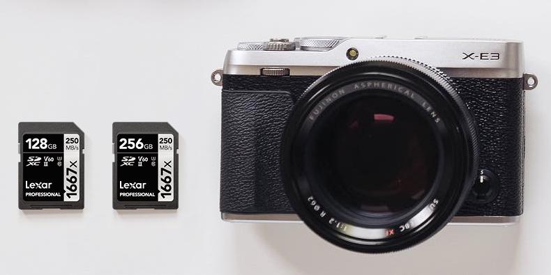 Fujifilm X-e3 med lexar minneskort 128- och 256GB