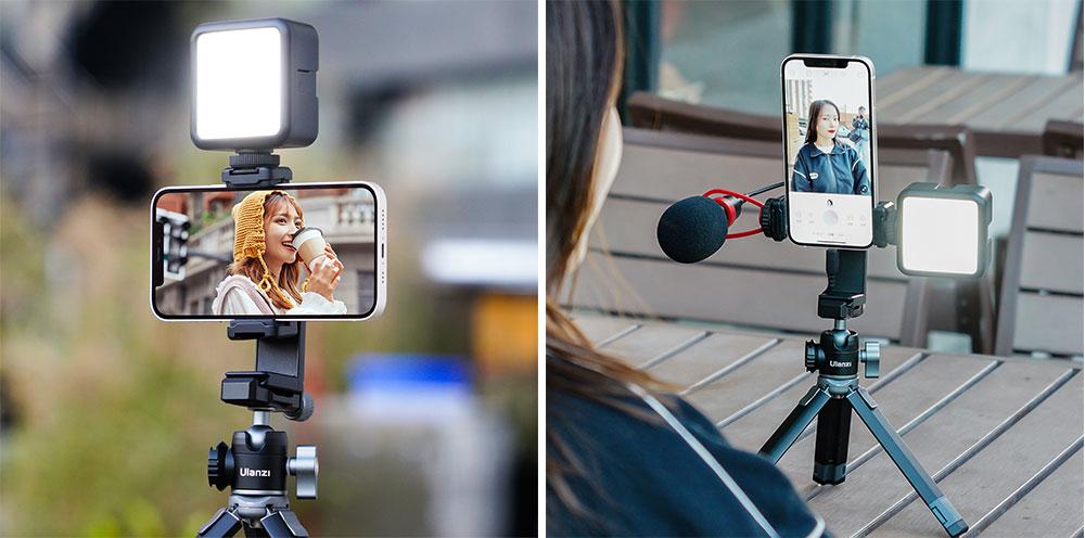 Ulanzi mobilhållare ST-22 med monterad mobil, mikrofon och LED-lampa